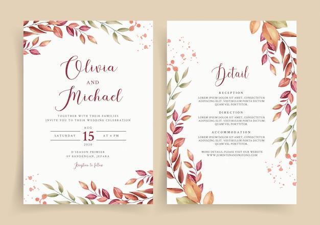 Belle Invitation De Carte De Mariage Avec Aquarelle De Feuilles Vecteur Premium