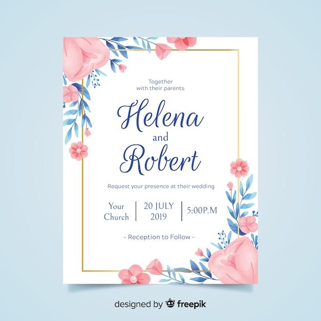 Belle invitation de mariage floral avec cadre doré Vecteur gratuit