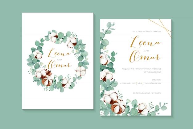 Belle Invitation De Mariage Aquarelle Avec Des Fleurs En Coton Et Des Feuilles D'eucalyptus Vecteur Premium