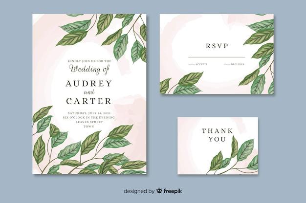 Belle invitation de mariage avec des feuilles dessinées à la main Vecteur gratuit