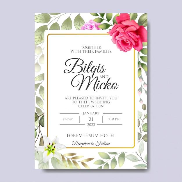 Belle Invitation De Mariage Avec Des Feuilles Florales Vecteur Premium