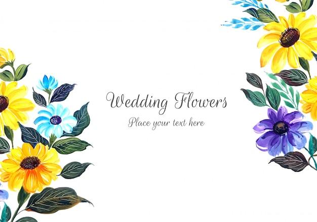 Belle Invitation De Mariage Avec Des Fleurs Vecteur gratuit