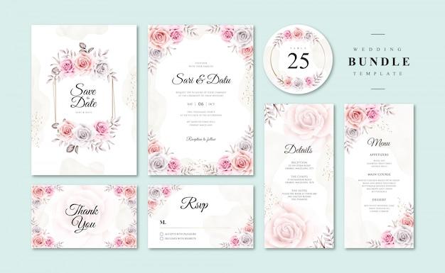 Belle Invitation De Mariage Floral Aquarelle Templatess Vecteur Premium