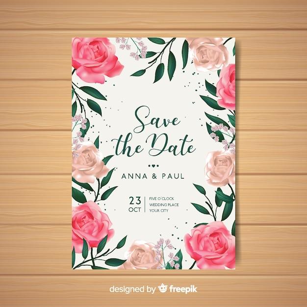Belle invitation de mariage floral avec un design réaliste Vecteur gratuit