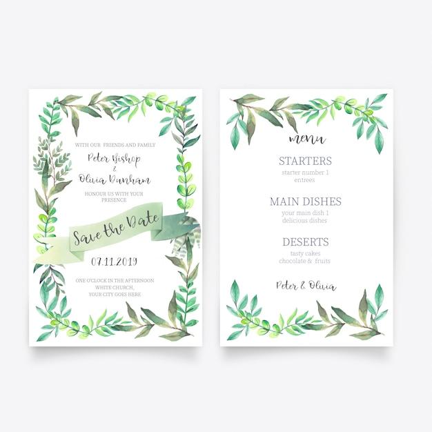 Belle invitation de mariage floral avec modèle de menu Vecteur gratuit