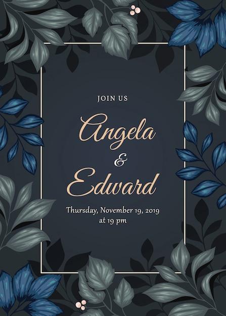 Belle invitation de mariage floral Vecteur Premium