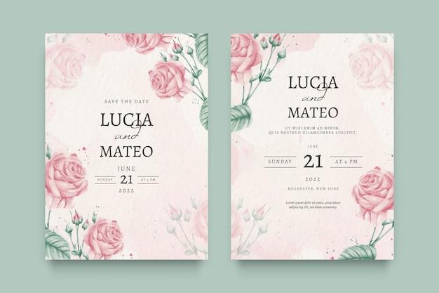Belle Invitation De Mariage Floral Vecteur gratuit