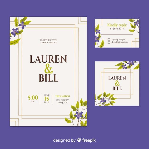 Belle invitation de mariage sur fond violet Vecteur gratuit