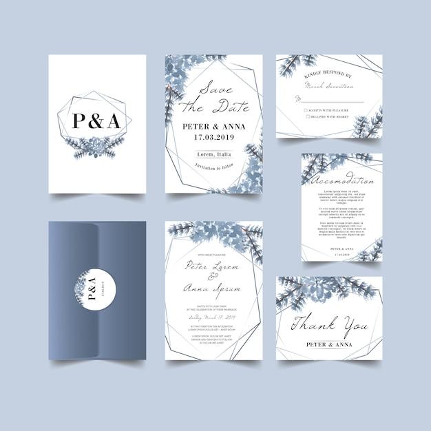 Belle invitation de mariage d'hiver Vecteur Premium