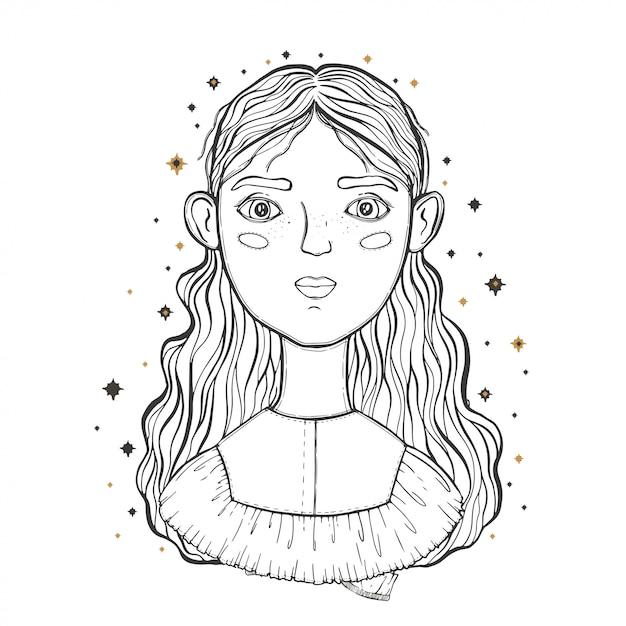 Belle jeune fille adolescente, faire face au premier plan. esquisse pour le tatouage, impression isolée sur un t-shirt. Vecteur Premium