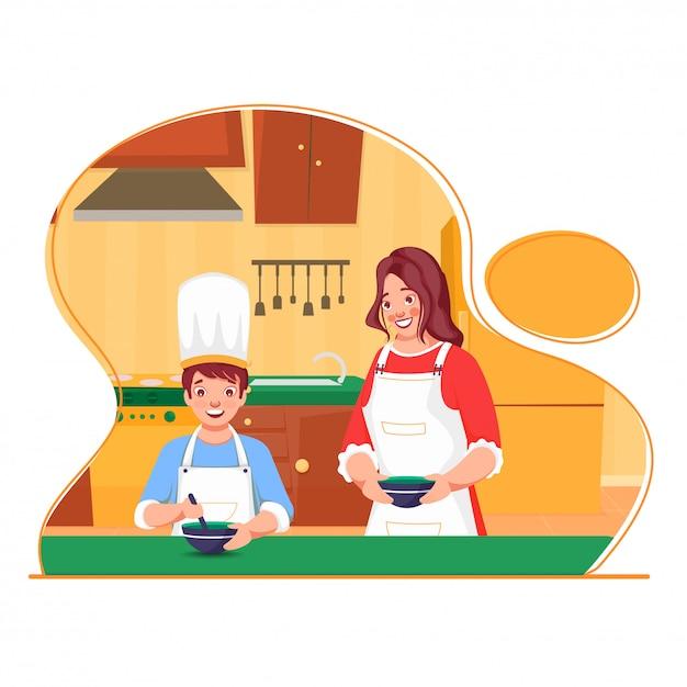 Belle Jeune Fille Aidant Un Petit Garçon à Faire De La Nourriture à La Maison De Cuisine. Peut être Utilisé Comme Affiche. Vecteur Premium