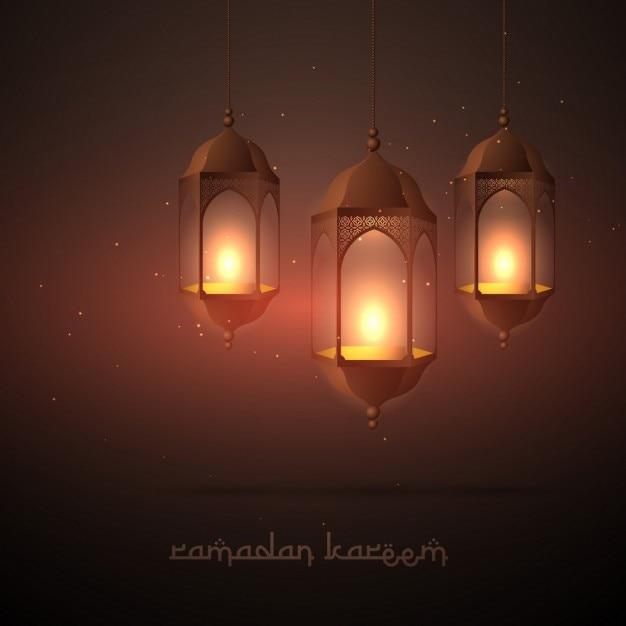 Belle Lampes Pendaison Ramadan Vecteur gratuit