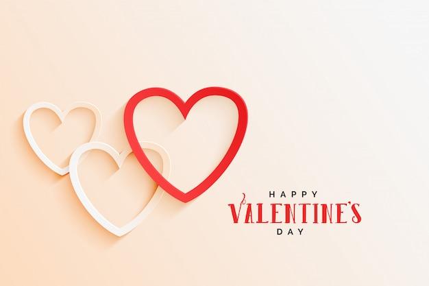 Belle ligne coeurs élégant fond saint valentin Vecteur gratuit