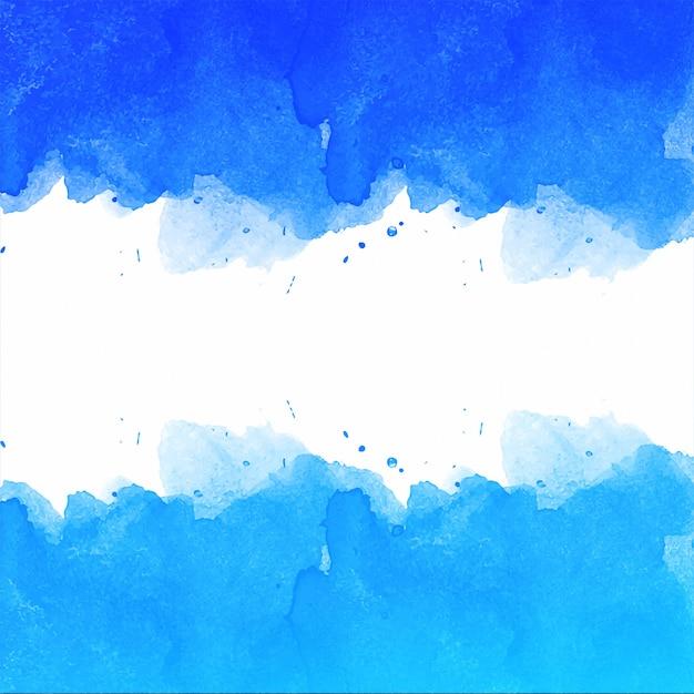 Belle main dessiner un fond aquarelle bleu Vecteur gratuit