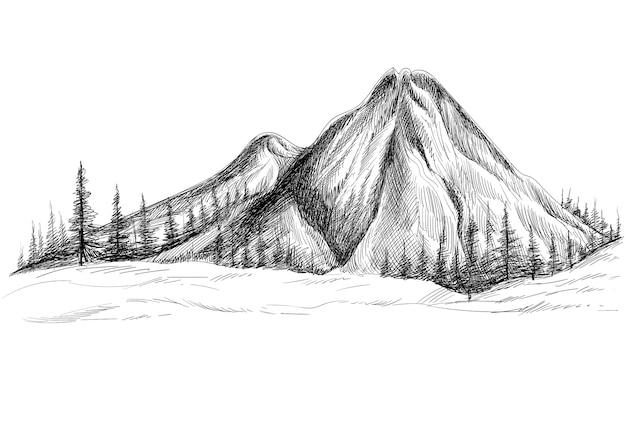 Belle Main Dessiner Le Paysage Avec La Conception De Croquis De Montagne Vecteur gratuit