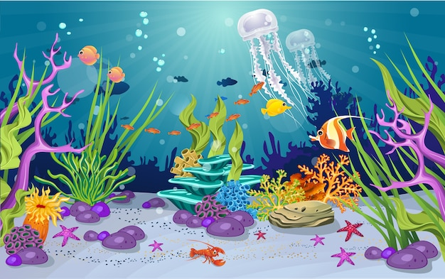 Belle méduse dans l'océan Vecteur Premium