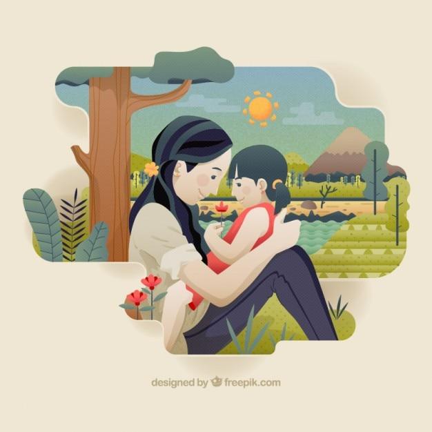 Belle Mère Avec Sa Petite Fille Illustration Vecteur gratuit