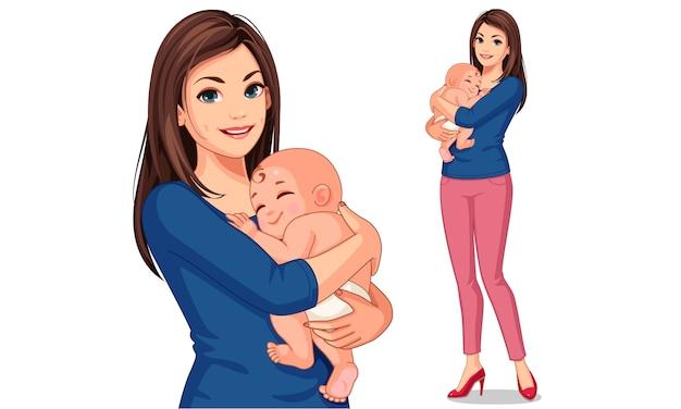 Belle Mère Avec Son Mignon Petit Bébé Vecteur Premium
