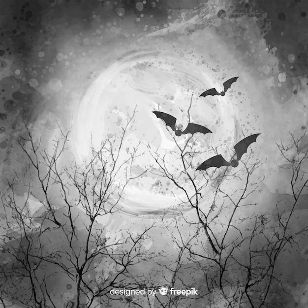 Belle nuit de pleine lune avec des chauves-souris et des branches Vecteur gratuit