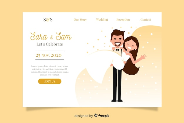 Belle page d'atterrissage de mariage Vecteur gratuit