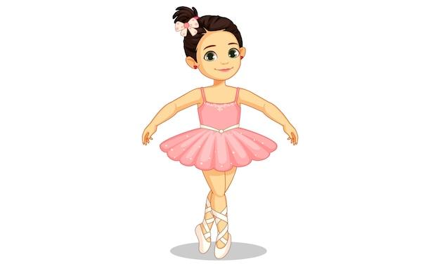 Belle petite ballerine en ballet Vecteur Premium