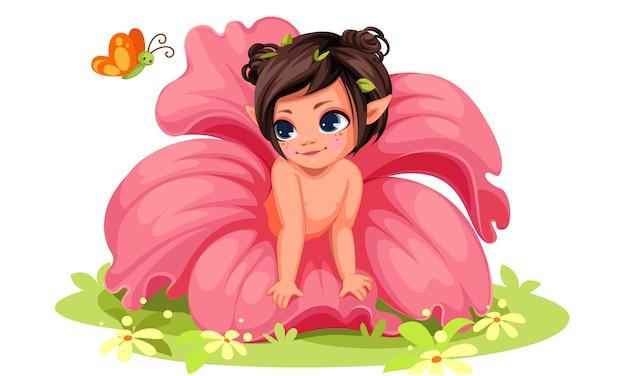 Belle petite fille de fleur regardant papillon Vecteur Premium
