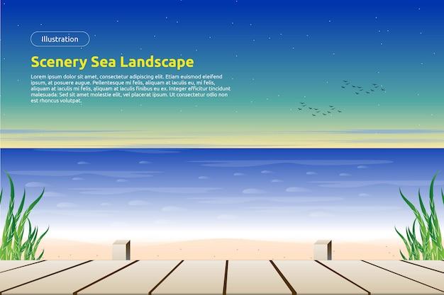 Belle plage avec plancher en bois et fond de ciel coloré Vecteur Premium
