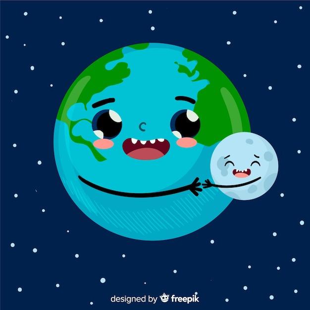 Belle planète terre avec un design plat Vecteur gratuit