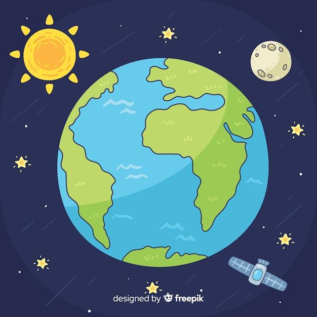 Belle planète terre avec style dessiné à la main Vecteur gratuit