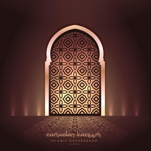 Belle porte de la mosquée avec des lumières et design pattern Vecteur gratuit