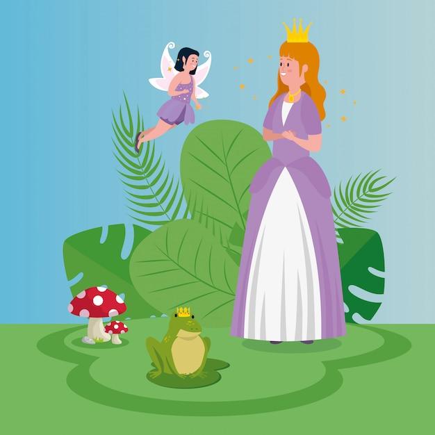 Belle princesse avec fée jeter dans la magie de la scène Vecteur gratuit