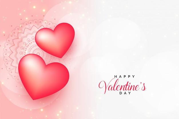 Belle saint valentin voeux avec espace de texte Vecteur gratuit