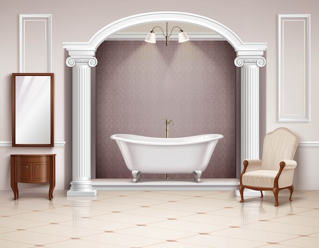 Belle salle de bain luxueuse avec mobilier en colonnes victoriennes et Vecteur gratuit