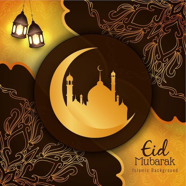 Belle salutation élégante du festival eid mubarak Vecteur gratuit