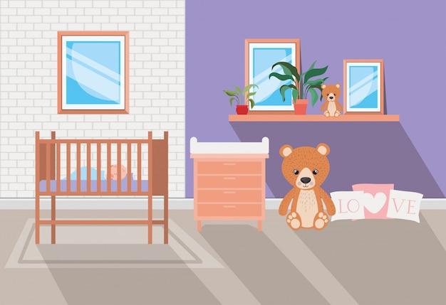Belle scène de chambre de bébé Vecteur gratuit