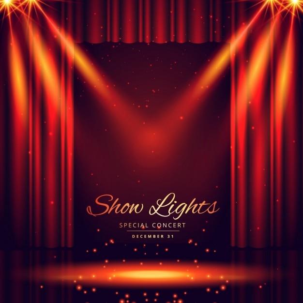 belle scène de théâtre avec des lumières accent Vecteur gratuit