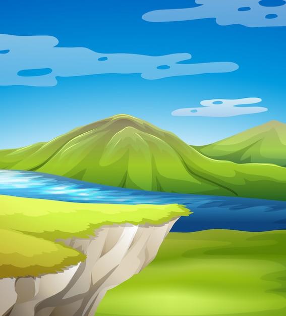 Belle scène de falaise avec lac Vecteur gratuit