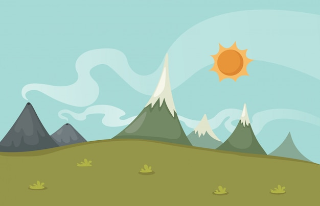 Belle scène de paysage Vecteur Premium
