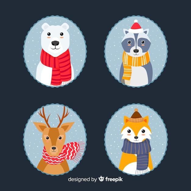 Belle série d'animaux d'hiver dessinés à la main Vecteur gratuit