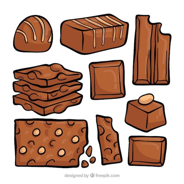 Belle série de chocolats dessinés à la main Vecteur gratuit