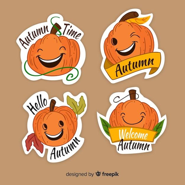 Belle série d'étiquettes d'automne dessinés à la main Vecteur gratuit