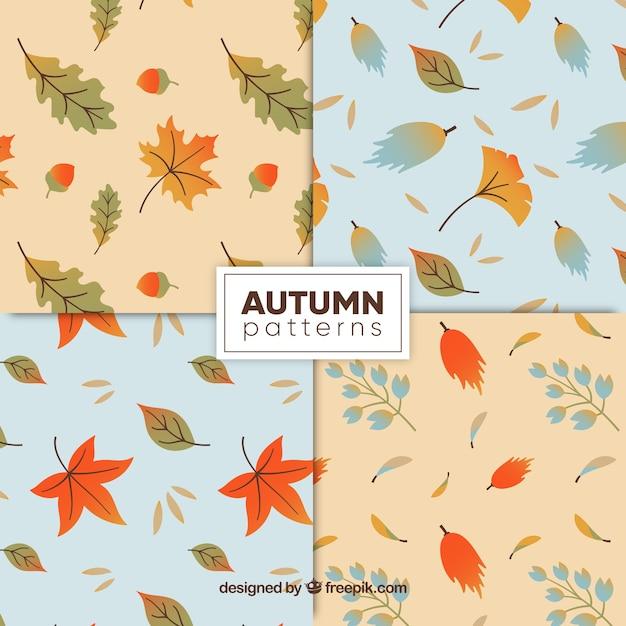 Belle série de motifs d'automne dessinés à la main Vecteur gratuit