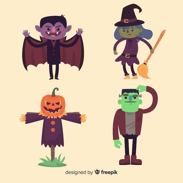 Belle série de personnages d'halloween au design plat Vecteur gratuit