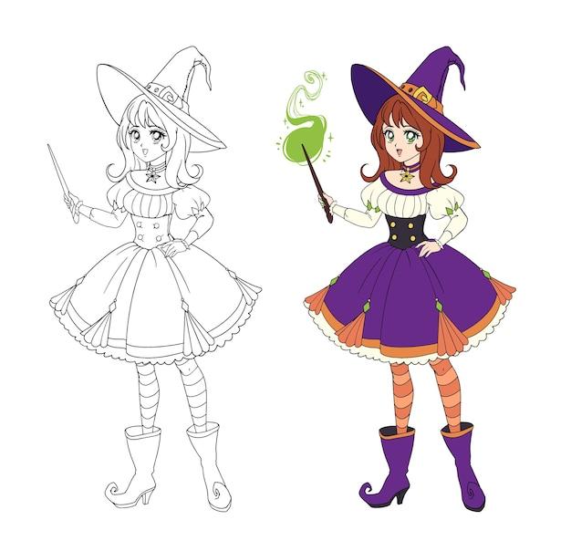 Belle Sorcière Anime Tenant Une Baguette Magique. Cheveux Roux, Robe Violette Et Grand Chapeau. Vecteur Premium
