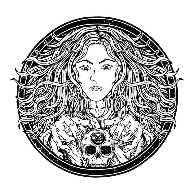 Belle sorcière Vecteur Premium