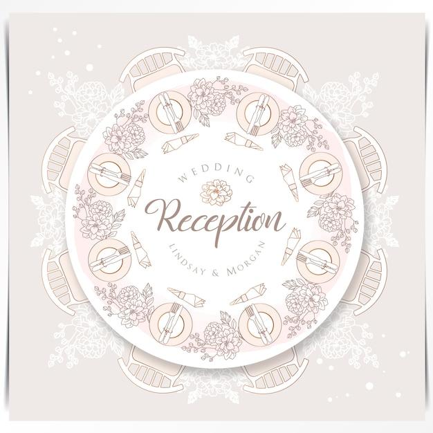 Belle table à manger événement de mariage mis en place avec décoration florale Vecteur Premium