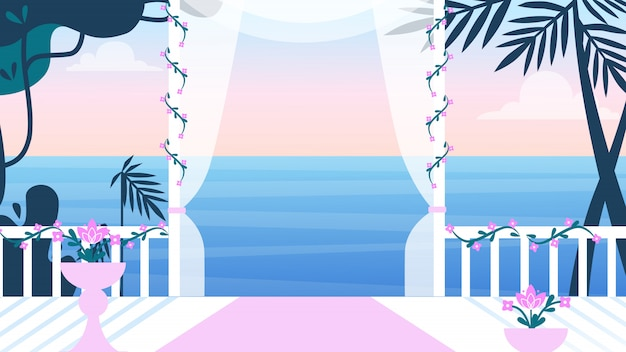 Belle terrasse vide avec des rideaux et des fleurs Vecteur Premium