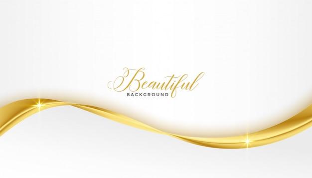 Belle Vague Brillante D'or 3d Sur Fond Blanc Vecteur gratuit