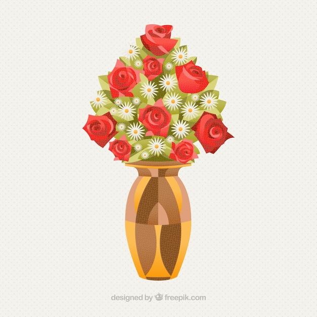 Belle vase avec des fleurs Vecteur gratuit