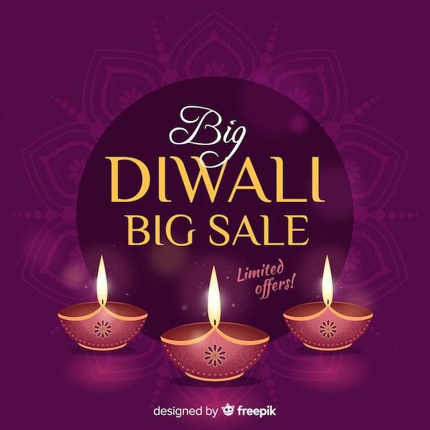 Belle vente de diwali en design plat Vecteur gratuit